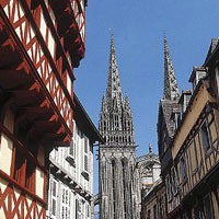 Quimper is located in Brittany region of France bordering the Atlantic Ocean